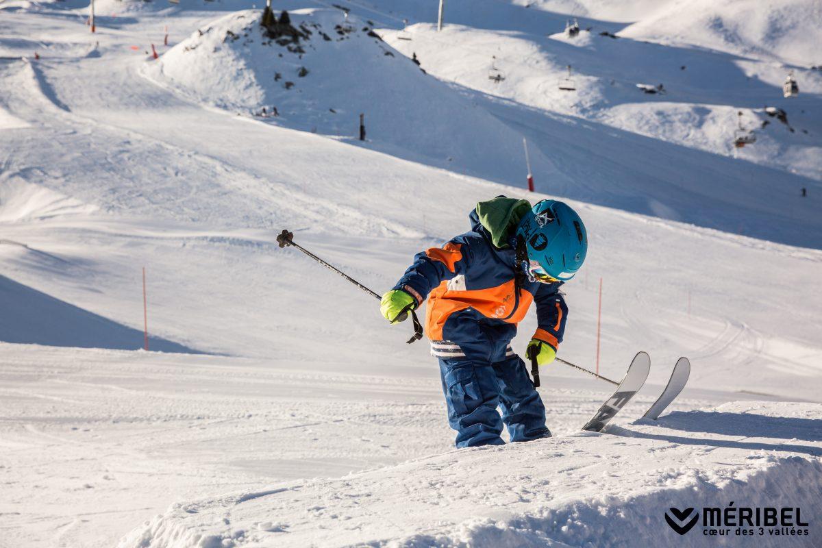 Ski or Snowboard? Toddler skiing in Meribel