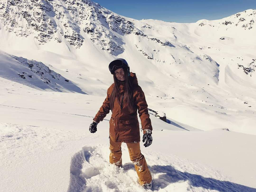 Dainora Jurevičiūtė stood in snow on the mountain