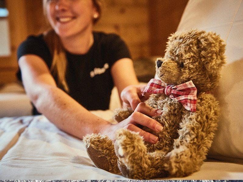 chalet teddy bear with bow tie