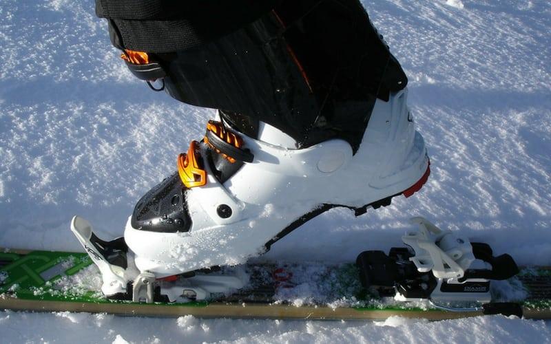 ski boot in the snow